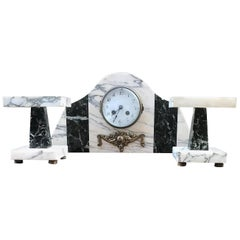 Art Deco Table Clock with Black and White Marble Bases with Bronze, circa 1920