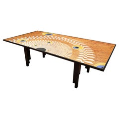 Art Deco dining Table  scagliola art Steel Decoration on Lacquered Wooden Base