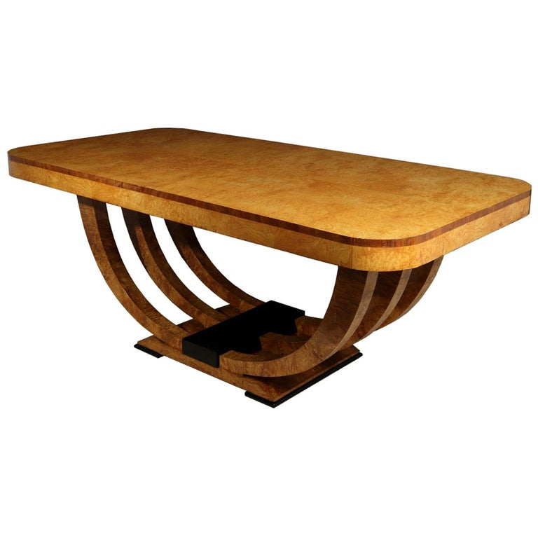 Art Deco Table in Burr Elm French, circa 1930 For Sale