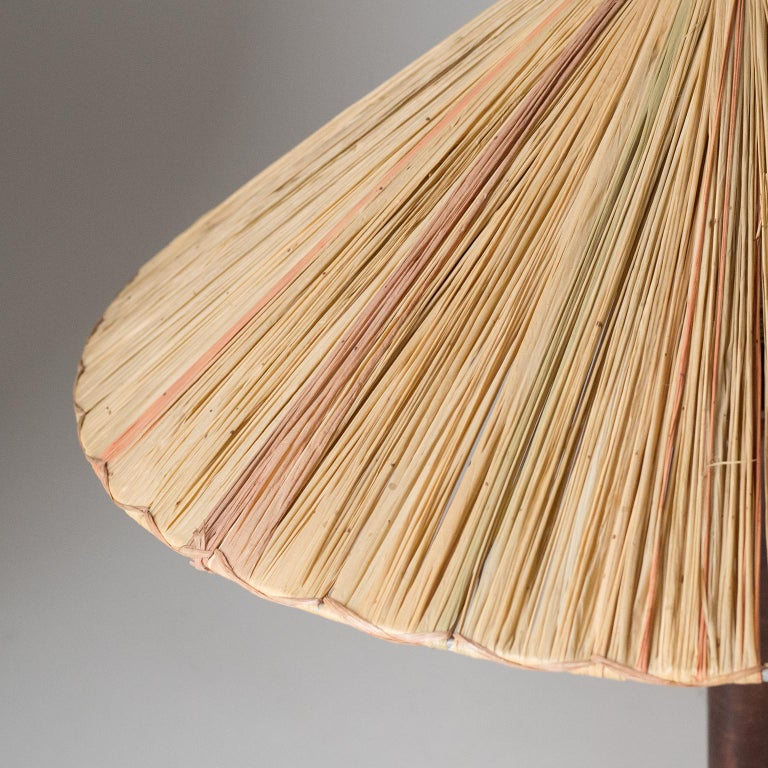 Art Deco Table Lamp, 1930s, with Original Straw Shade For Sale 6