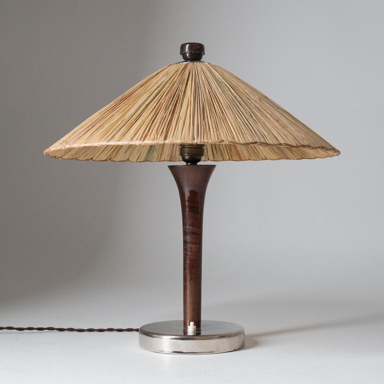 Art Deco Table Lamp, 1930s, with Original Straw Shade For Sale 7
