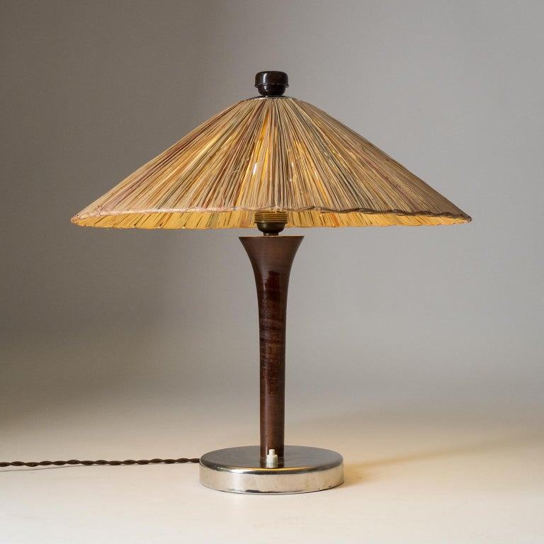 Art Deco Table Lamp, 1930s, with Original Straw Shade For Sale 8