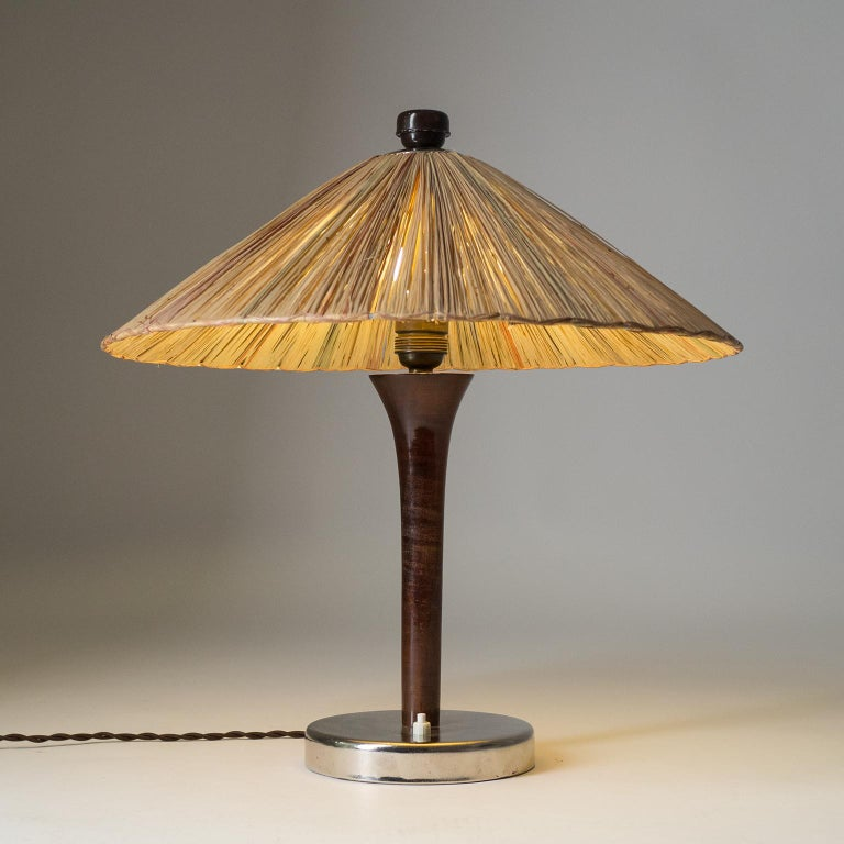 German Art Deco Table Lamp, 1930s, with Original Straw Shade For Sale