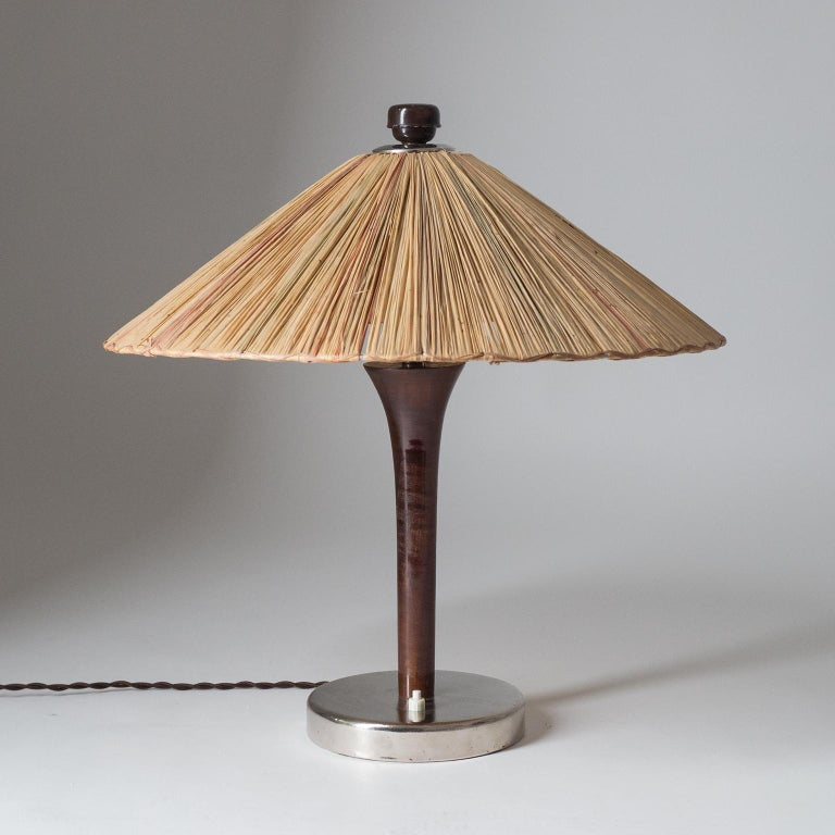 Art Deco Table Lamp, 1930s, with Original Straw Shade For Sale 1