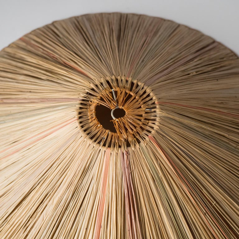Art Deco Table Lamp, 1930s, with Original Straw Shade For Sale 2