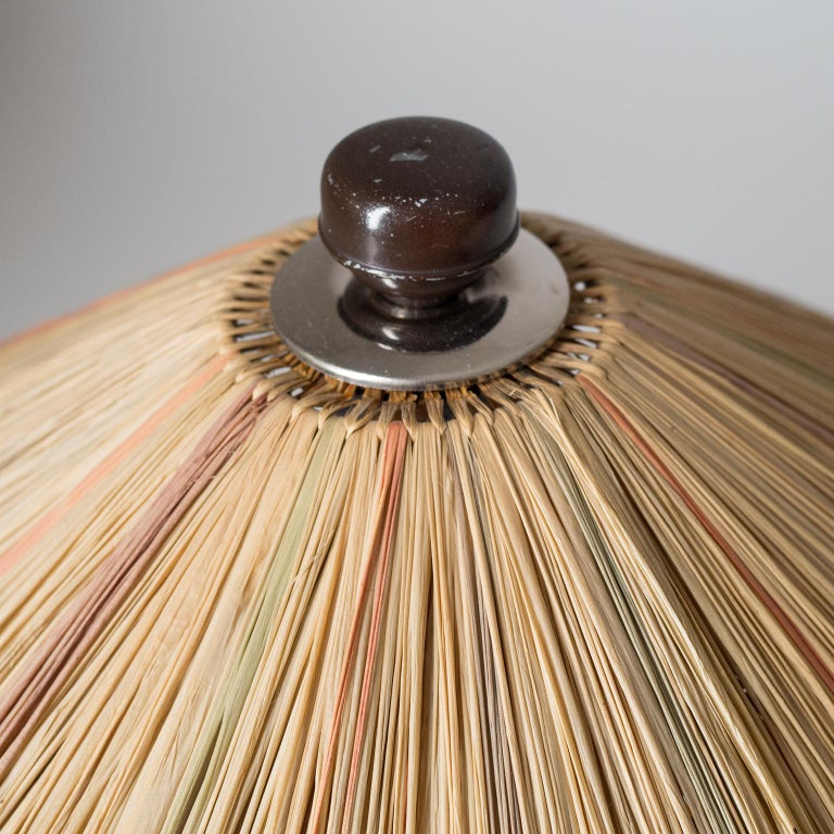 Art Deco Table Lamp, 1930s, with Original Straw Shade For Sale 3