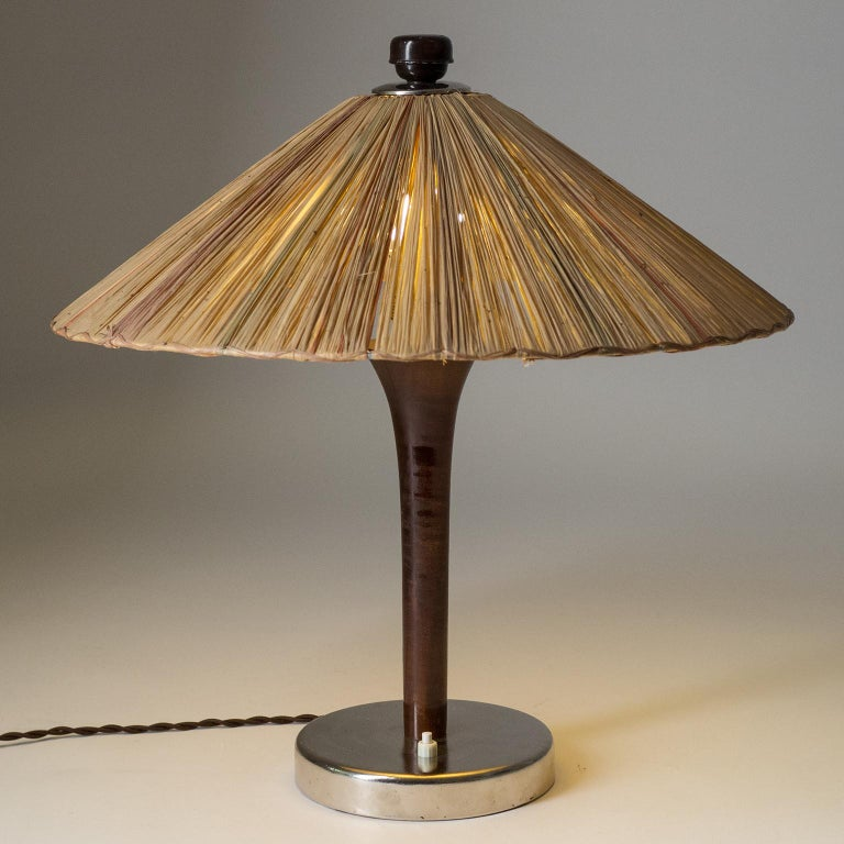 Art Deco Table Lamp, 1930s, with Original Straw Shade For Sale 4