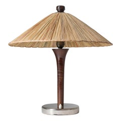 Art Deco Table Lamp, 1930s, with Original Straw Shade
