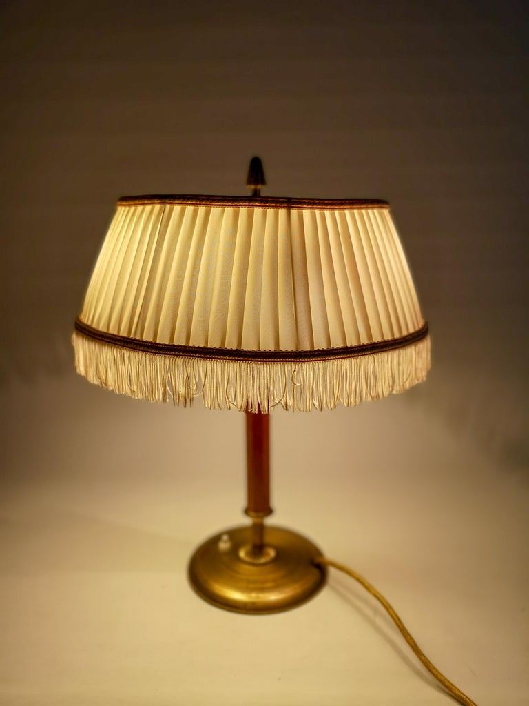 Art Deco Table Lamp Brass and Teak, Sweden, 1930s For Sale 2