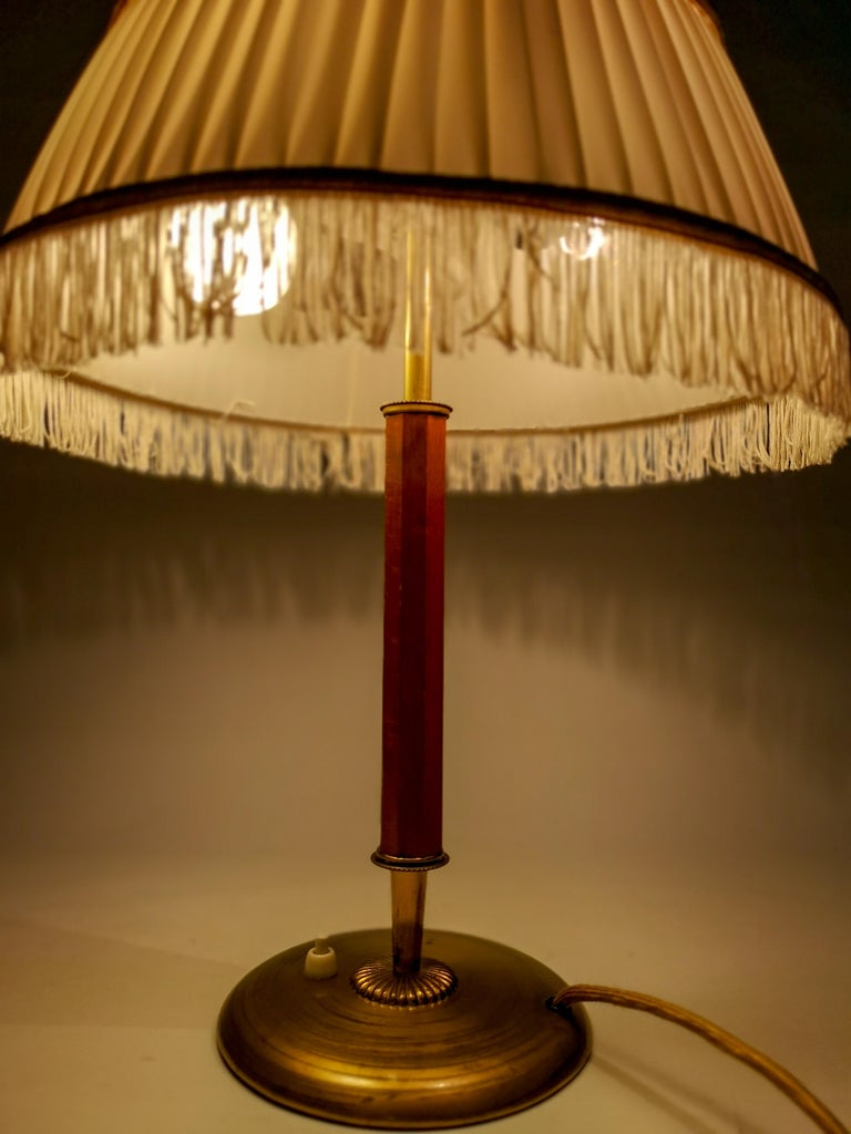 Art Deco Table Lamp Brass and Teak, Sweden, 1930s For Sale 3