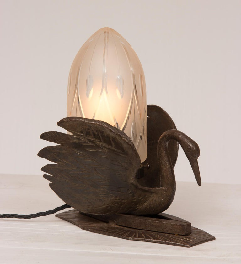 Art Deco bronze swan lamp.