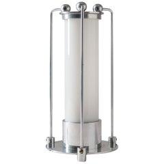 Art Deco Table Lamp, circa 1930, Aluminum and Opaline Glass