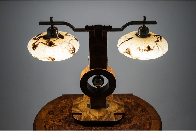 Art deco style lamp comes from Spain. Original shades from late 1930s.  The base and electricity is new. European (Poland) plug.