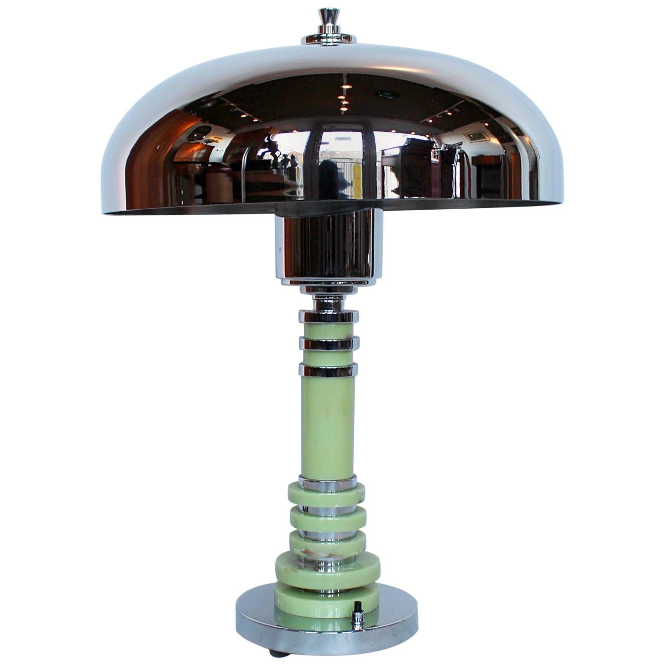 Art Deco Table Style Lamp With Chrome Shade and Mint Green Bakelite Stem.