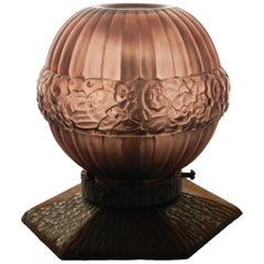 Art Deco Table Lamp French Purple Glass Night Light