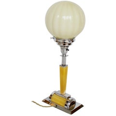 Art Deco Table Lamp, Golden Reeded Bakelite Stem and Yellow Glass Dome Shade