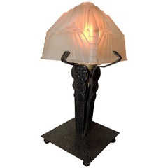 Art Deco Table Lamp Iron Schneider Glass Shade