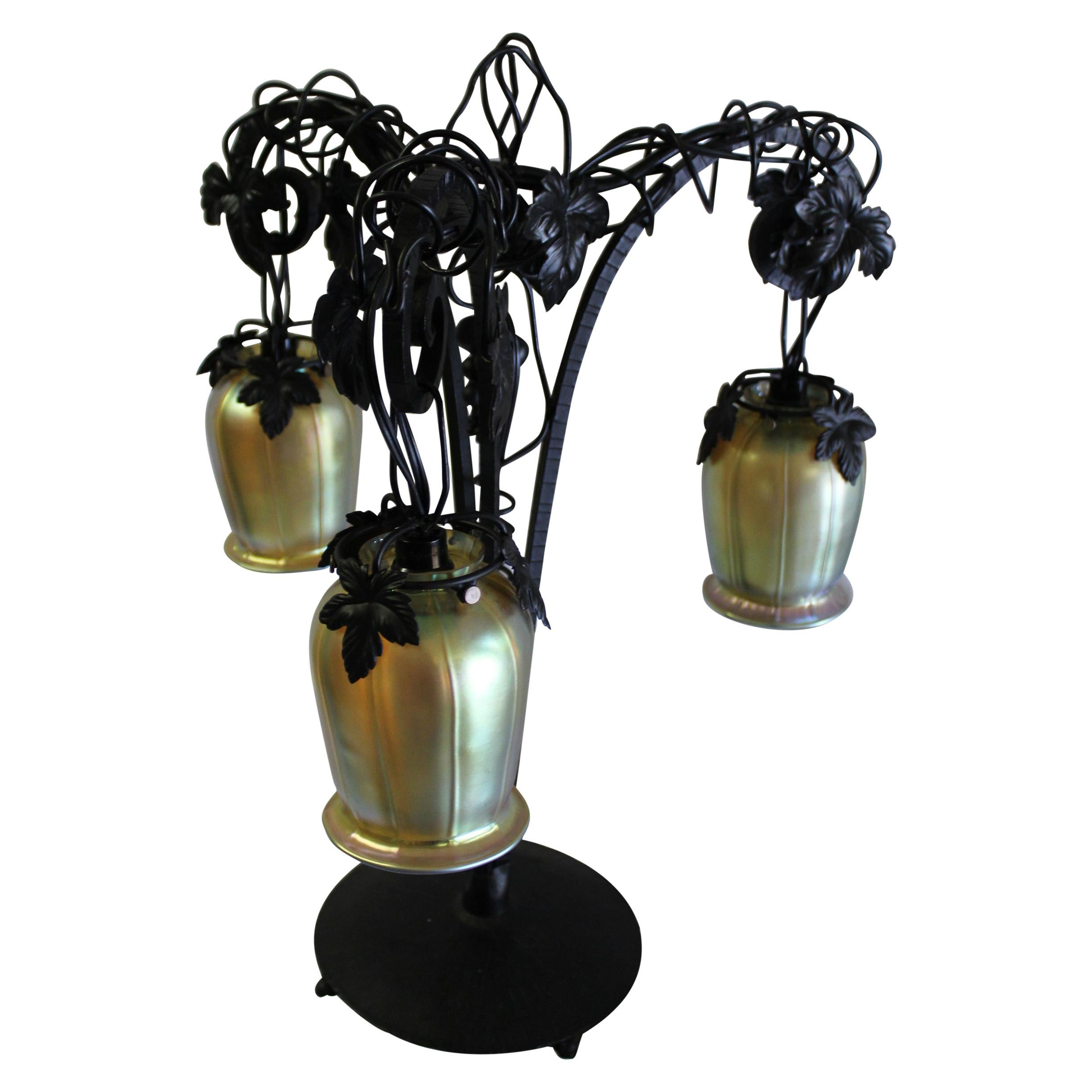 Art Deco Table Lamp, Iron with 3 Hanging Glass Shades