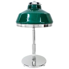 Art Deco Table Lamp Nickel-Plated with Original Green Opal Glas Shade, 1920s