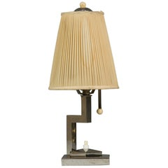 Art Deco Table Lamp Nickel-Plated with Original Shade, circa 1920s