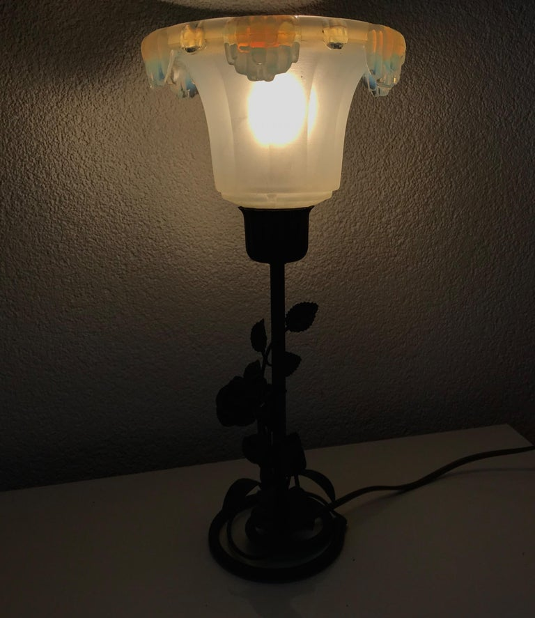 European Art Deco Table Lamp with a Lalique Style Iridescent White and Blue Glass Shade For Sale