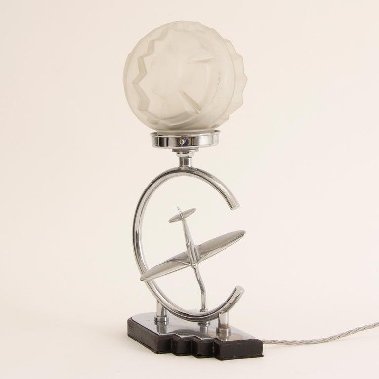 British Art Deco Table Lamp with Aeroplane and Sunburst Geometric Glass Shade For Sale