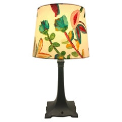Art Deco Table Lamp with an Artbymaj Lampshade in the Manner of Josef Frank
