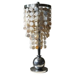 Art Deco Table Lamp with Mother of Pearls Top and Funkis Style Frame