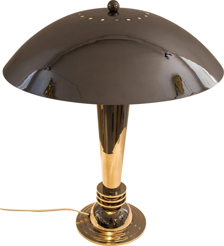 European Two Original Art Deco Table Lamps Vintage from 1925 Brass, Nickel-Plated For Sale