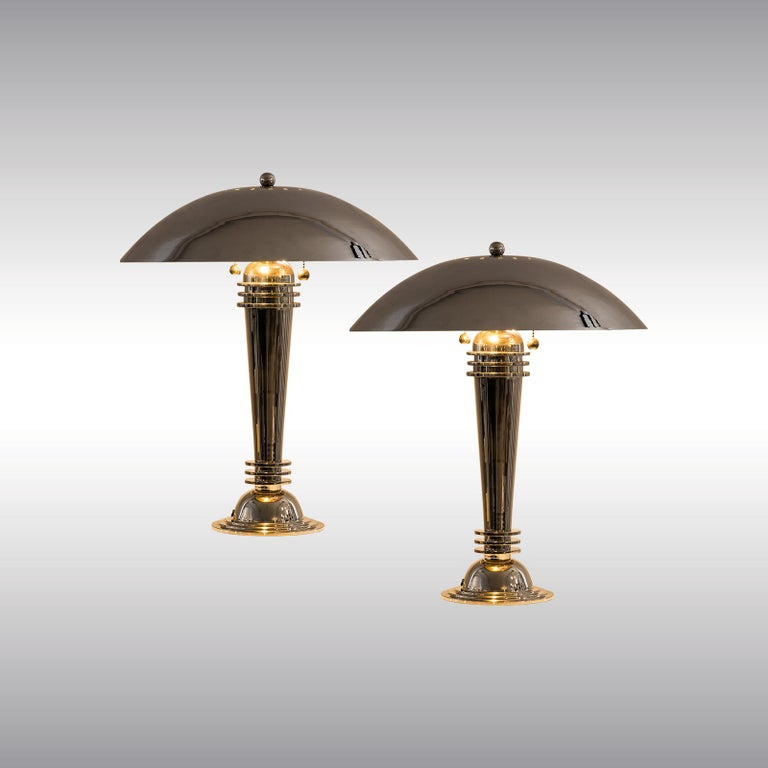 Hand-Crafted Two Original Art Deco Table Lamps Vintage from 1925 Brass, Nickel-Plated For Sale