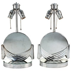 Art Deco Table Lamps with Mirrored Surfaces