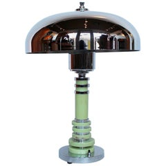 Art Deco Table Style Lamp with Chrome Shade and Mint Green Bakelite Stem