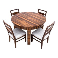 Art Deco Table with Chairs, Poland, 1950s, Renovated