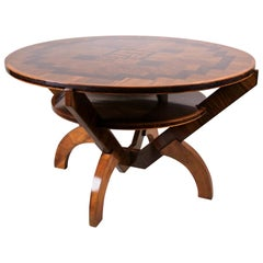 Art Deco Table with Marquetry Work by A. Herrgesell, Austria, circa 1925