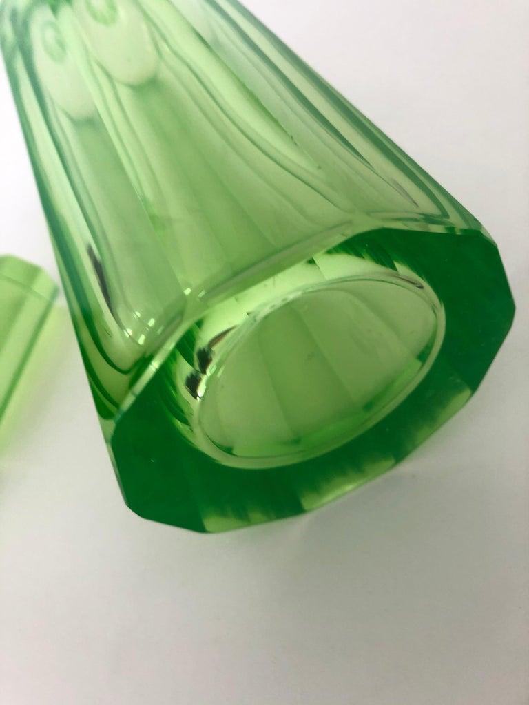 Art Deco Tall Slender Vaseline Glass Decanter / Cologne Bottle For Sale 3
