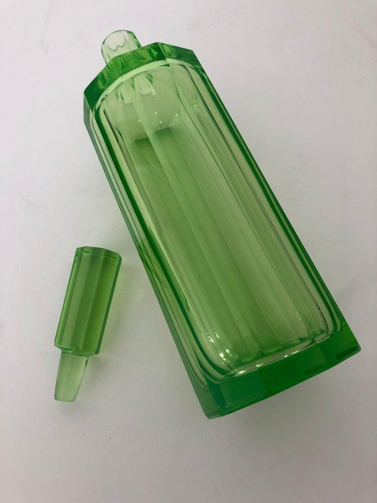 Austrian Art Deco Tall Slender Vaseline Glass Decanter / Cologne Bottle For Sale