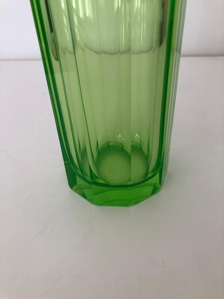 Cut Glass Art Deco Tall Slender Vaseline Glass Decanter / Cologne Bottle For Sale