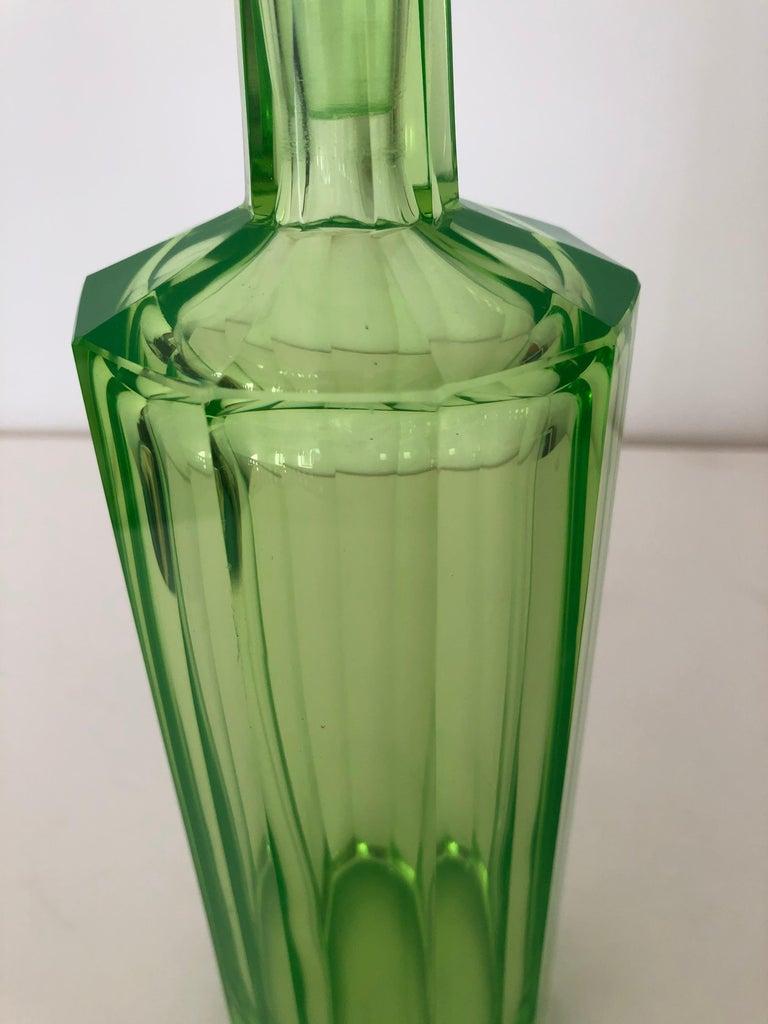 Art Deco Tall Slender Vaseline Glass Decanter / Cologne Bottle For Sale 1