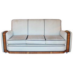Art Deco Tank Three-Seat Sofa English, circa 1930