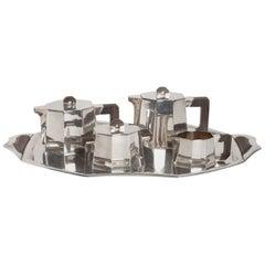 Art Deco Tea & Coffee Service Set 1st Grade Silver and Macassar from DEMARQUAY