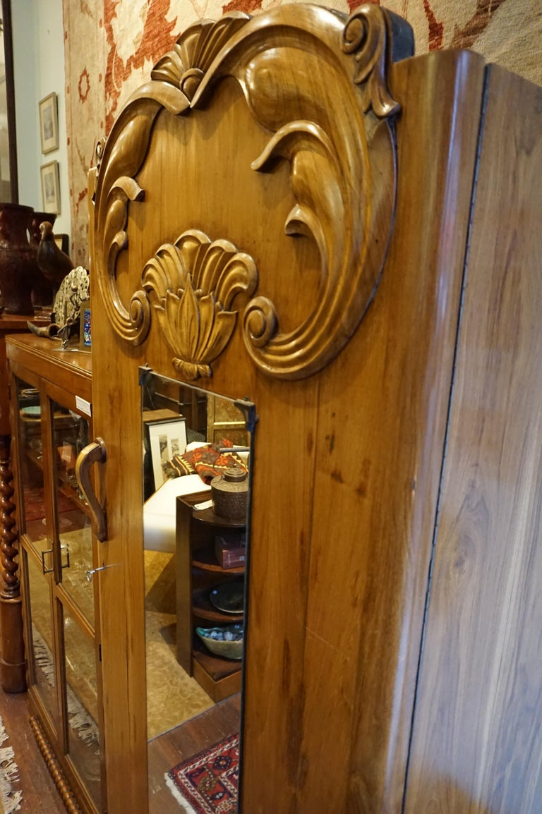 Art Deco Teak Armoire with Lotus Motif In Good Condition For Sale In Vancouver, British Columbia