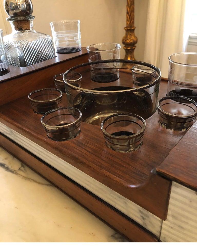 20th Century Art Deco Teak Bar Caddy/Tray, Mid-Century Modern