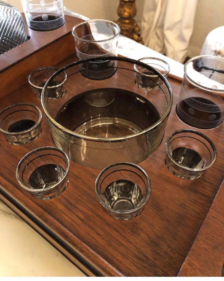 Art Deco Teak Bar Caddy/Tray, Mid-Century Modern 2