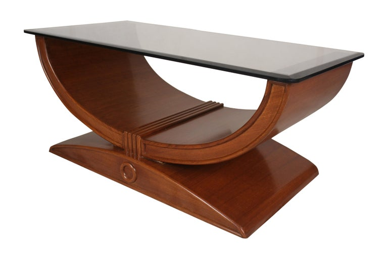 European Art Deco Teak Coffee or Cocktail Table with Smoked Glass Top