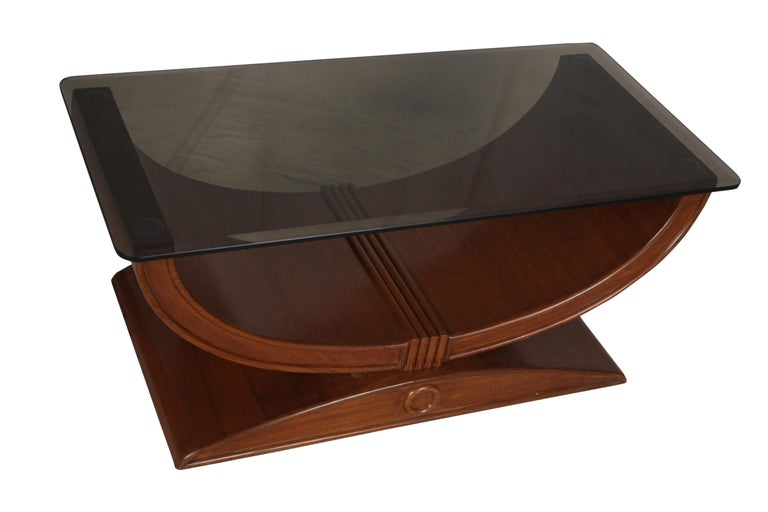 Art Deco Teak Coffee or Cocktail Table with Smoked Glass Top In Good Condition In Nantucket, MA