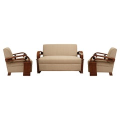 Art Deco Teak Living Room Set, Love Seat and Pair of Club Chairs, European