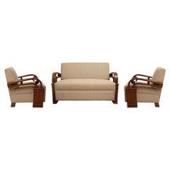 Art Deco Teak Living Room Set, Love Seat and Pair of Club Chairs, European