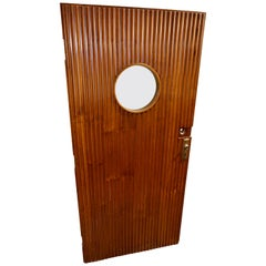 Art Deco Teak Ship Porthole Carved Door