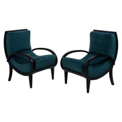 Art Deco Teal Velvet and Bentwood Armchairs, 1920s, Set of 2