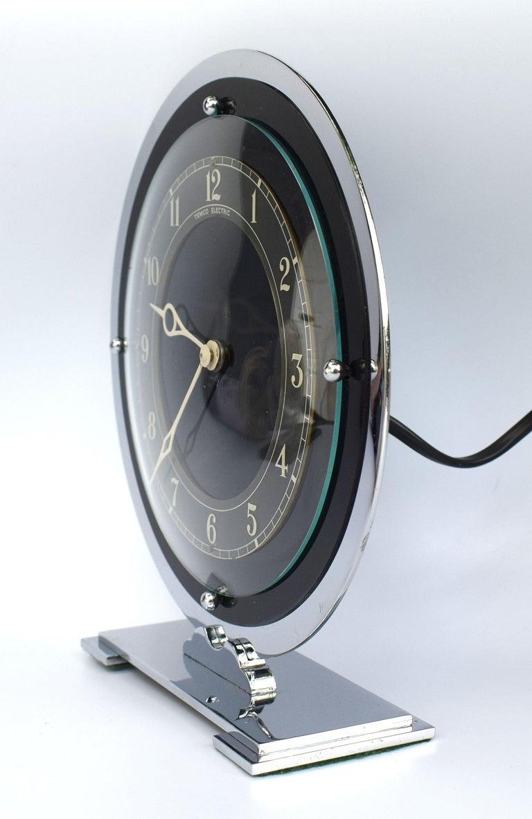 English Art Deco Temco Chrome Electric Mantel Clock, 1930s For Sale